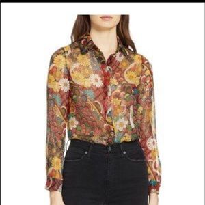 Alice&olivia silk floral shirt